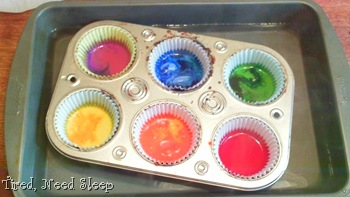 melted crayons in a pan of hot water