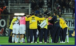16 April 2011 : players  of Parma celebrating after match  during the italian Serie A 33th round match played between Parma and Inter at Ennio Tardini  stadium of Parma , Italy 