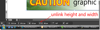 Unlink height and width settings