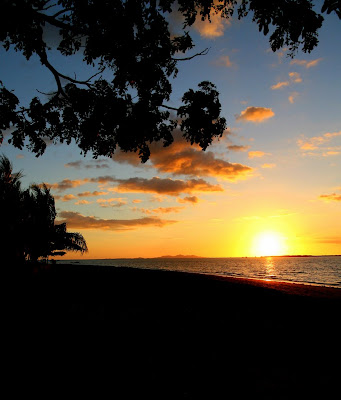 The sunset at the beach in Nadi, Fiji.