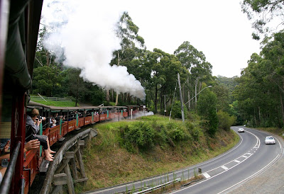 Puffing Billy heads over the bridge after departing from Belgrave, Victoria.