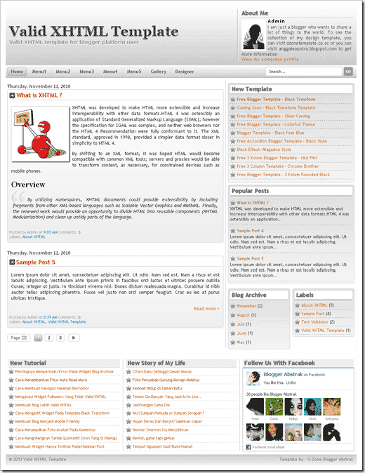 template blogger valid xhtml