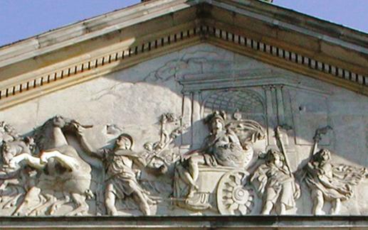 Marco Valerio Corvino. Relieve del fronton del Palacio Krasinski, Varsovia, con la entrada triunfal del Consul en Roma