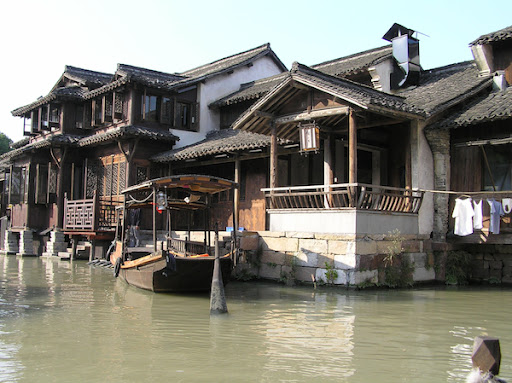 The canals and lovely buildings of Wuzhen, from boat