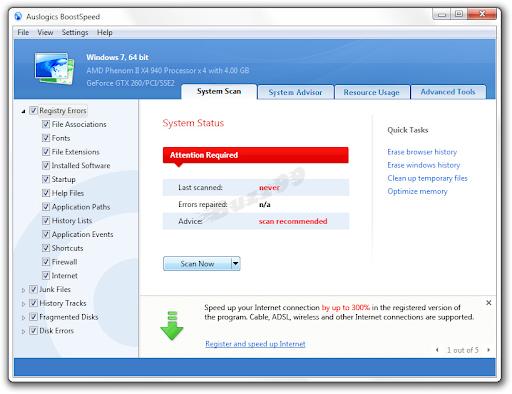 Download Auslogics BoostSpeed 5 SE with Free License Key
