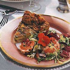 Frisée, Radicchio and Mixed Green Salad with Shrimp and Mushrooms