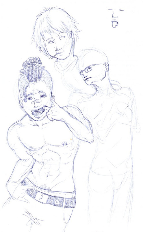 sketch do dia - boys bic band