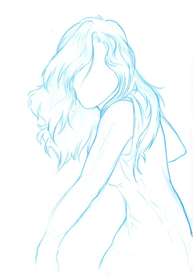 Sketch menina azul 2