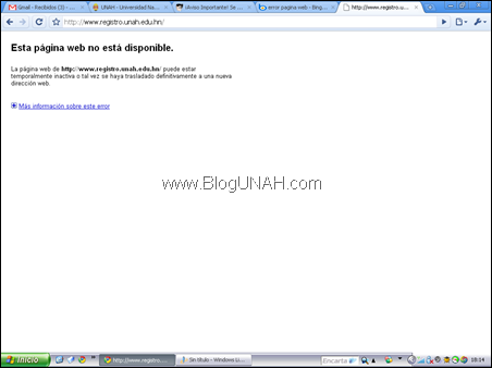 error registro unah