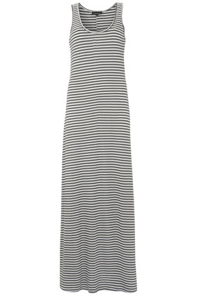 White and Grey Striped Maxi Dress by Warehouse