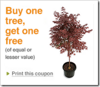 Home Depot BOGO Tree Coupon