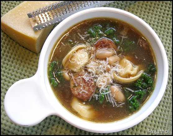 ... !: Cheese tortellini soup with cannellini beans, kielbasa and kale