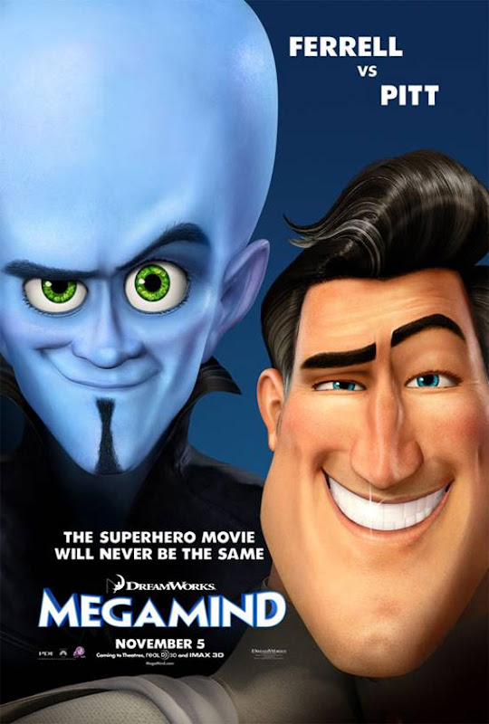 Megamind, movie, poster, new, Brad Pitt, Will Ferrell