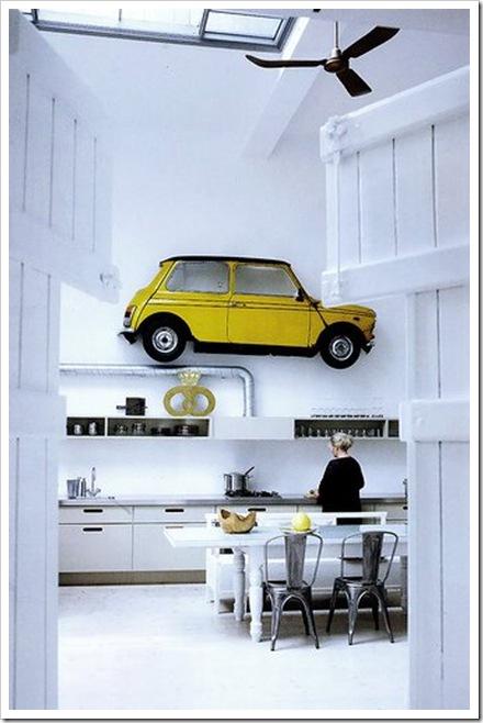 konyha lakberendezése autó a falon