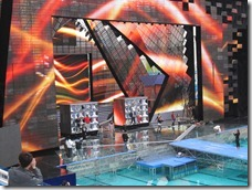 "The band ""Blue"" is practising for a TV show in the Water Cube in the evening"
