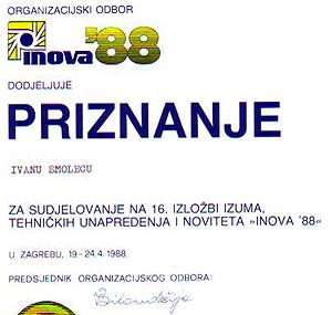 Priznanje - INOVA 88