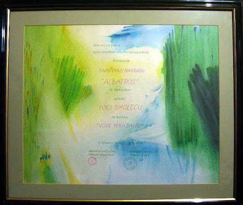 Diploma za osvojenu književnu nagradu 'Albatros' 2004. godine