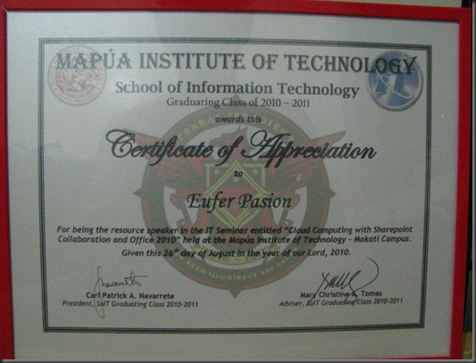 Pinoy med it tech team windows7ako in action another successful my certificate of appreciation christopher erwin and i was presented with this certificate after the seminar yadclub Images