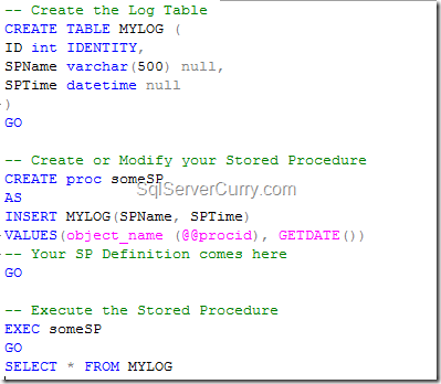 Current Stored Procedure