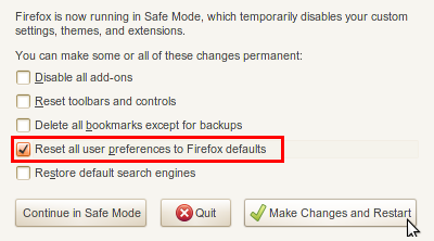 como resetar as configurações do Firefox