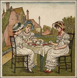 Three Girls having tea in a garden