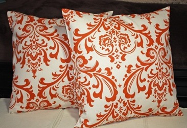 Etsy Orange Damask Pillows