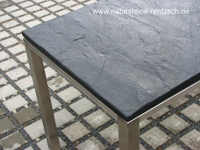 tisch 120x70x75 schwarzer schiefer edelstahl gartentisch. Black Bedroom Furniture Sets. Home Design Ideas