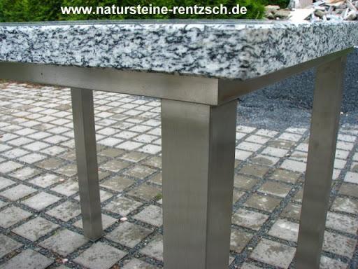 tisch k che 100x100x76 edelstahl granit naturstein neu ebay. Black Bedroom Furniture Sets. Home Design Ideas