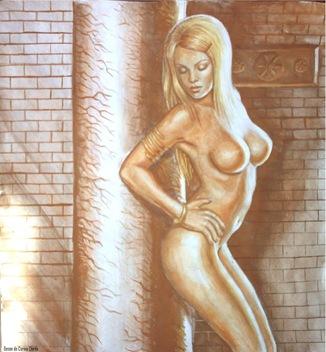 O femeie din Dacia nud pictura acuarela