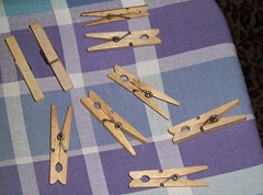 Large Russian Storm Clothes Pegs - one normal clothes peg for size reference