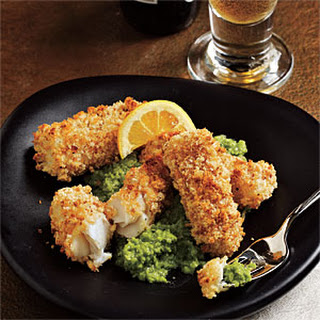 Chunky Fish Fingers with Pea and Mint Puree