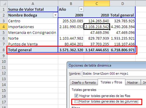 "Activar o desactivar ""Total general"" en una tabla dinámica_imagen5"