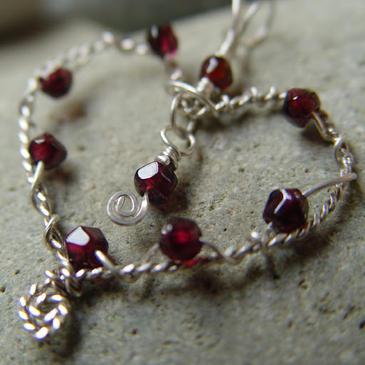 Entwined In My Love - fine silver wire heart and faceted garnets pendant