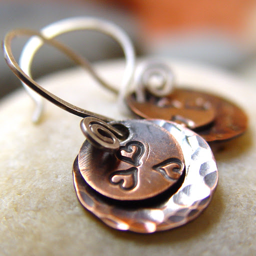 Tres Mignon dainty copper and silver earrings