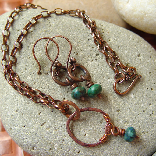 Danu copper azurite necklace and earrings set
