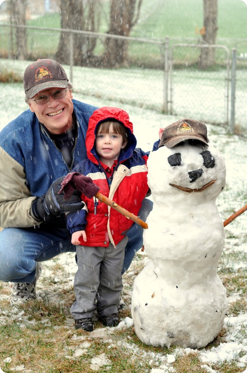 Miles Grandpa Romer with Snowman