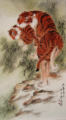 traditional tiger painting, asian water color