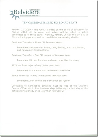 January 27, 2009 BCSD Notice