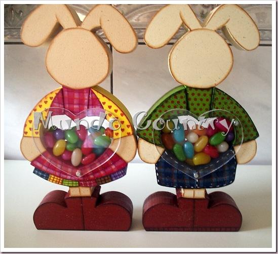 Pintura country baleiro casal coelhos costas