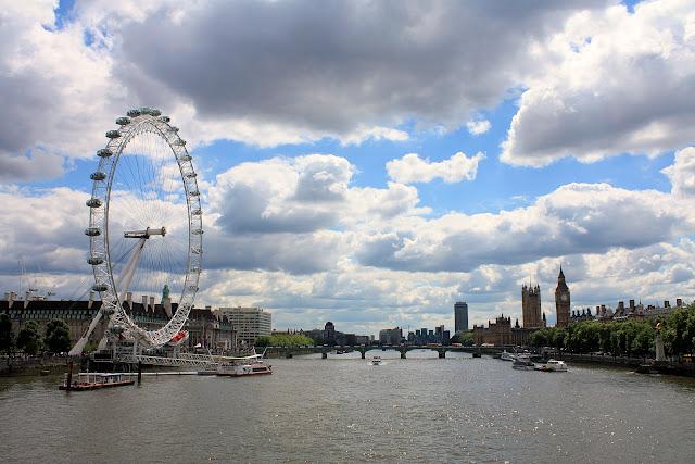 Pohled z Hungerford Bridge směrem na jih - po levé straně London Eye a po pravé silueta Big Benu