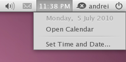 clock applet ubuntu maverick