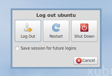 Xubuntu 10.10 screenshot shutdown dialog