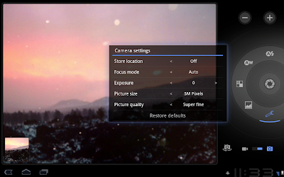 Android 3.0 screenshots camera