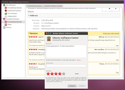 Ubuntu Software center ratings reviews