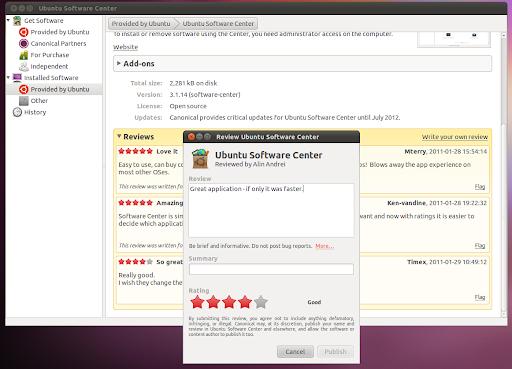 Обещанные рейтинги и отзывы в Центре приложений в Ubuntu 11.04 Natty Narwhal Alpha 2