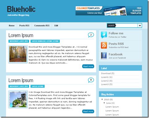 Blueholic Blogger Template