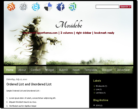 Mosidebe Blogger Template
