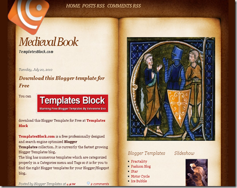 Medieval Book Blogger Template