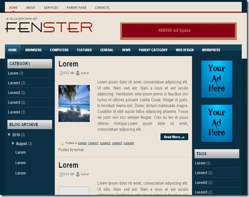 Fenster Blogger Template