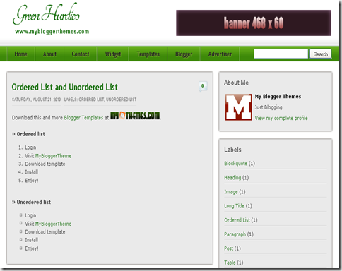 Green Hurdico Blogger Template